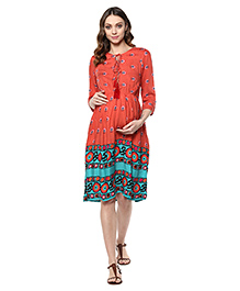 Mine4Nine Three Fourth Sleeves Printed Maternity Dress - Coral