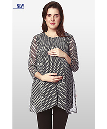 Nine Three Fourth Sleeves Maternity Wear Printed Polyester Tunic - Black