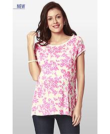 Nine Half Sleeves Maternity Wear Floral Print N Jersey Blouse - Pink