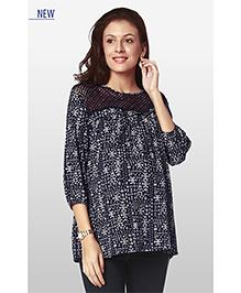 Nine Three Fourth Sleeves Maternity Wear Printed Blouse - Navy Blue