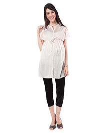 Nine Short Sleeves Maternity Nursing Tunic Heart Print - Cream