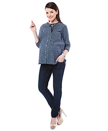 Nine Maternity Chambray Maternity Top Floreal Print - Grey Blue