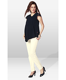 Nine Maternity Wear Lace Cap Sleeves Top - Indigo