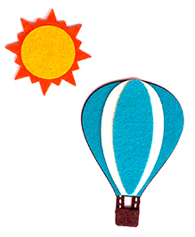 Two For Joy Hot Air Balloon And Sun Fridge Magnets Pack Of 2 -  Blue Yellow Orange White