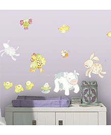 Home Decor Line Animal Farm Wall Sticker - Purple