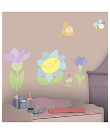Home Decor Line Smiling Flowers Wall Sticker - Multi Color