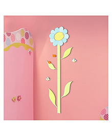 Home Decor Line Floral Growth Chart 3D Wall Sticker - Green Blue