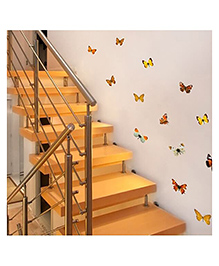 Home Decor Line Butterflies Wall Sticker - Multi Color