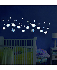 Home Decor Line SGlow In Dark Sheep Wall Sticker - White Blue