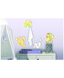 Home Decor Line Animal Farm Foam Hooks Electrostatic Wall Decal - Green Yellow