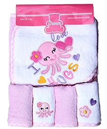 Owen - 5 Piece Starter Set Hooded Towel With 4 Wash Cloths