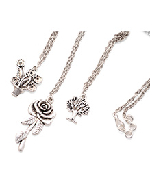 Pretty Ponytails Engraved Rose Tree Vase Pendant Chain Necklace Set Of 3 - Silver