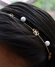 Pretty Ponytails Hair Band Bead Detailing - Golden White