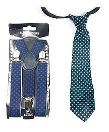 Kidofash Polka Dot Printed Tie & Suspenders - Blue