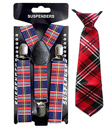 Kidofash Checkered Tie & Suspenders - Red