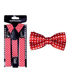 Kidofash Polka Dot Printed Bowtie & Suspenders - Red