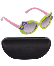 Kidofash Heart Printed Contrast Sunglasses With Case - Green & Pink