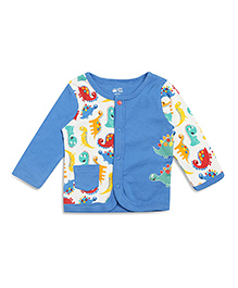FS Mini Klub Full Sleeves Front Open Vest Printed With Pocket - Blue Off White