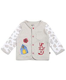 FS Mini Klub Full Sleeves Vest Printed With Pocket - Beige