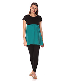 Goldstroms Maternity Nursing Top - Dark Cyan & Black