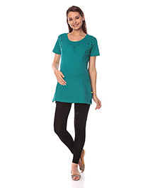 Goldstroms Half Sleeves Maternity Top Heart & Star Design - Green