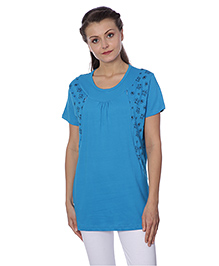 Goldstroms Half Sleeves Maternity Top Butterfly Design - Blue