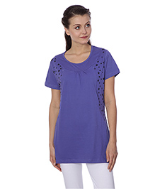 Goldstroms Half Sleeves Maternity Top Butterfly Design - Lillac