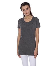 Goldstroms Half Sleeves Maternity Long Top Dots Design - Charcoal Grey