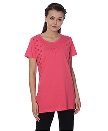 Goldstroms Half Sleeves Maternity Top Floral Design - Pink