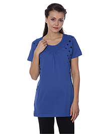 Goldstroms Half Sleeves Maternity Top Heart Design - Royal Blue