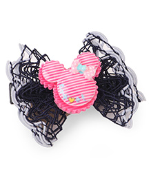 Treasure Trove Mouse Frilled Bow Alligator Clip - Navy Blue