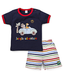 Olio Kids Half Sleeves T-shirt With Shorts - Navy