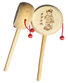 Desi Karigar Wooden Rattle Drum Musical Instrument - Set Of 2