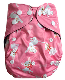 Chuddybuddy Double Gusset Charcoal Bamboo Diaper With Insert Pink Cats Print - Pink