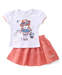 ToffyHouse Short Sleeves Top And Skirt Set Printed - White & Peach