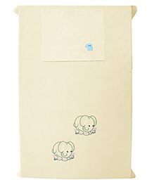 Baby Rap Elephant Friends Design Crib Sheet With Pillow Cover - Yellow