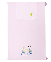 Baby Rap Single Duck With Flowers Design Crib Sheet With Pillow Cover - Pink