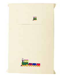 Baby Rap The Big Train Design Crib Sheet With Pillow Cover - Cream