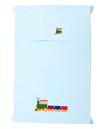 Baby Rap The Big Train Design Crib Sheet With Pillow Cover - Blue