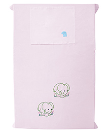 Baby Rap Elephant Couple Design Crib Sheet With Pillow Cover - Lavender