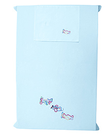 Baby Rap Aeroplane Formation Family Design Crib Sheet With Pillow Cover - Blue