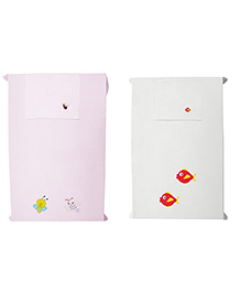 Baby Rap Fish Couple & Bee Couple Design Crib Sheet With Pillow Cover Set Of 2 - Pink White
