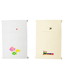 Baby Rap Fishy Party & Big Train Crib Sheet With Pillow Cover Set Of 2 - Lemon White