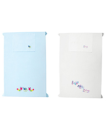 Baby Rap Aeroplanes & Caterpillars Design Crib Sheet With Pillow Cover Set Of 2 - Blue White
