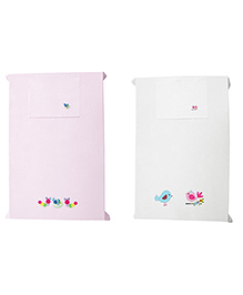 Baby Rap Caterpillars & Birds Design Crib Sheet With Pillow Cover Set Of 2 - Pink White