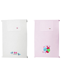 Baby Rap The Love Bug And Birds Design Crib Sheet With Pillow Cover Set Of 2 - Pink White