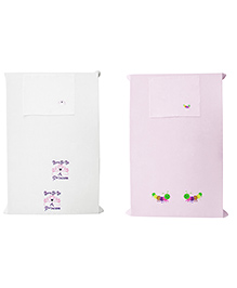 Baby Rap Princess And Caterpillars Design Crib Sheet With Pillow Cover Set Of 2 - Pink & White