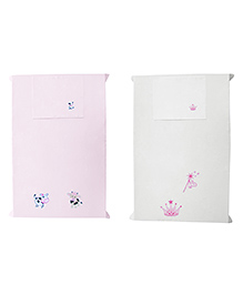 Baby Rap Cow Couple And Princess Design Crib Sheet With Pillow Cover Set Of 2 - Pink White