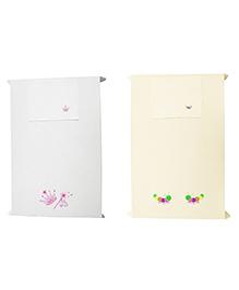Baby Rap Princess And Caterpillars Design Crib Sheet With Pillow Cover Set Of 2 - White Lemon