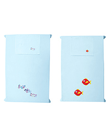 Baby Rap Aeroplanes & Fishes Design Crib Sheet With Pillow Cover Set Of 2 - Blue